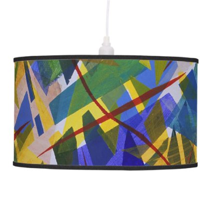 The City I, Abstract Contemporary Green Light Pendant Lamps