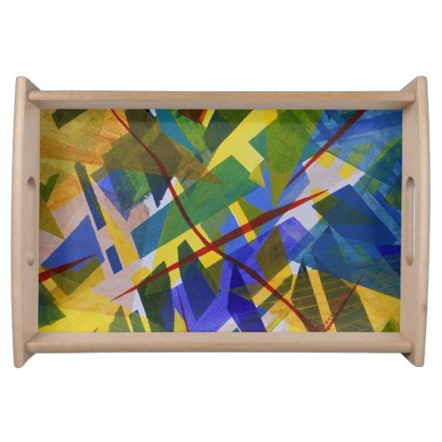 The City I, Abstract Contemporary Green Light Serving Tray