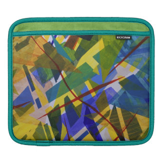 The City I, Abstract Contemporary Green Light Sleeve For iPads