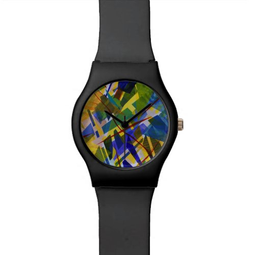The City I, Abstract Contemporary Green Light Wrist Watch