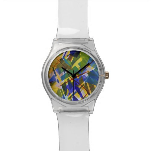 The City I, Abstract Contemporary Green Light Wristwatch