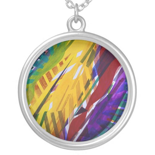 The City II - Abstract Rainbow Streams Round Pendant Necklace