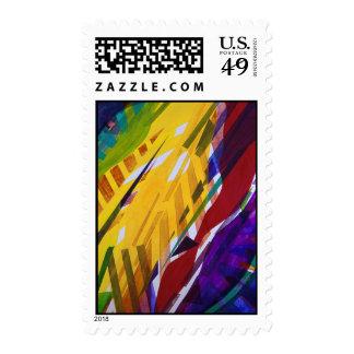 The City II - Abstract Rainbow Streams Postage