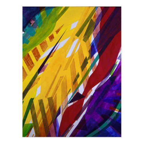 The City II - Abstract Rainbow Streams Postcard