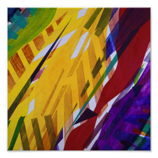 The City II - Abstract Rainbow Streams Poster