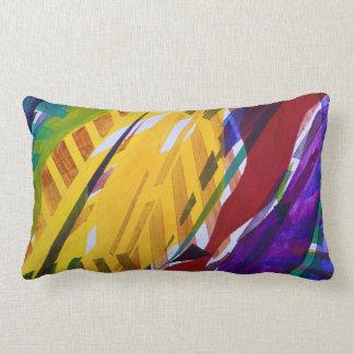 The City II - Abstract Rainbow Streams Small Lumbar Pillow