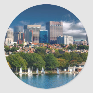 The city of Boston and Charles river Classic Round Sticker