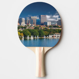 The city of Boston and Charles river Ping Pong Paddle