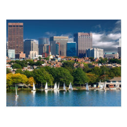 The city of Boston and Charles river Postcard