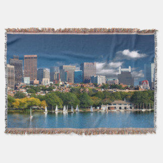 The city of Boston and Charles river Throw Blanket