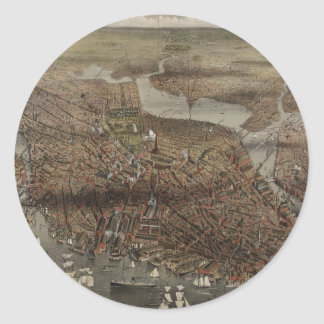 The City of Boston by Parsons & Atwater 1873 Classic Round Sticker