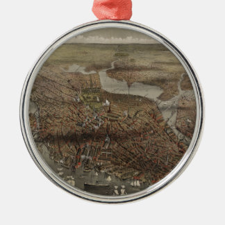 The City of Boston by Parsons & Atwater 1873 Round Metal Christmas Ornament