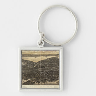 The City of Boston Massachusetts (1879) Silver-Colored Square Keychain