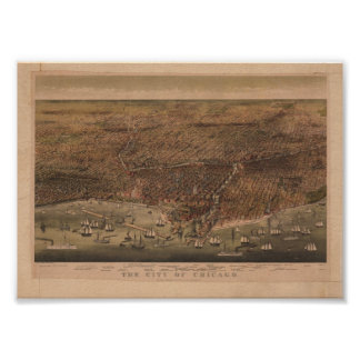 The City of Chicago 1892 Reproduction Print