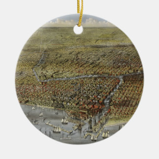 The City of Chicago Illinois from 1874 Ceramic Ornament