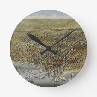 The City of Chicago Illinois from 1874 Round Wallclock