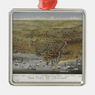The City of Chicago Illinois from 1874 Metal Ornament