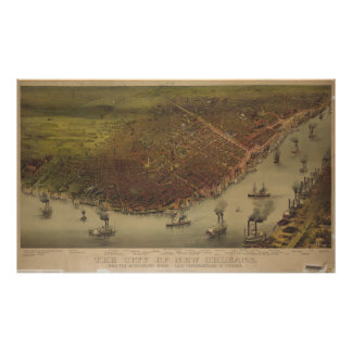 The City of New Orleans Louisiana from 1885 Poster