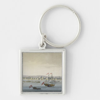 The City of Paramaribo (colour engraving) Keychain