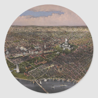 The City of Washington D.C. from 1880 Classic Round Sticker
