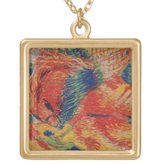 The City Rises, 1911 (tempera on card) Gold Plated Necklace