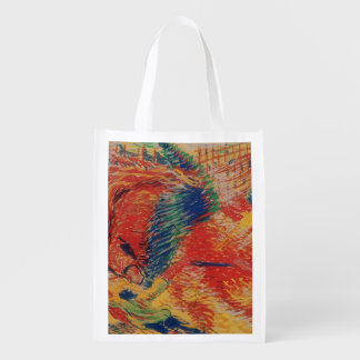 The City Rises, 1911 (tempera on card) Reusable Grocery Bag