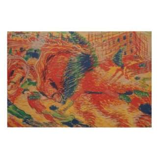 The City Rises, 1911 (tempera on card) Wood Wall Art
