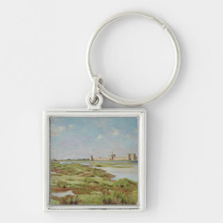 The City Walls of Aigues-Mortes, 1867 Silver-Colored Square Keychain