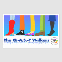 The CL-A.S.-Y Walkers Rectangular Sticker