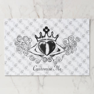 The Claddagh (Black) Paper Placemat