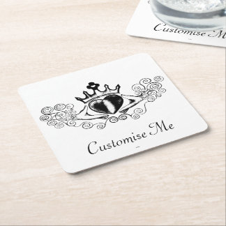 The Claddagh (Black) Square Paper Coaster