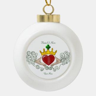 The Claddagh (Full Colour) Ceramic Ball Christmas Ornament