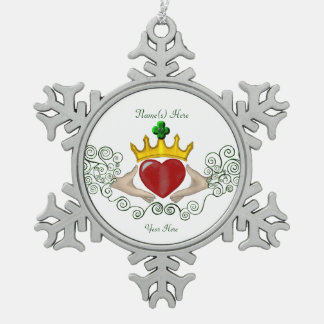 The Claddagh (Full Colour) Snowflake Pewter Christmas Ornament