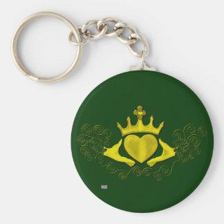 The Claddagh (Gold) Basic Round Button Keychain