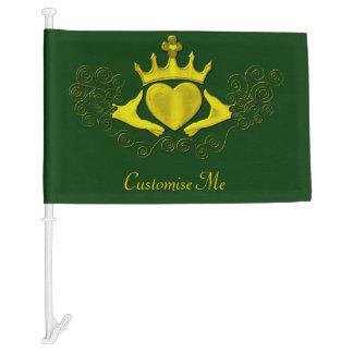 The Claddagh (Gold) Car Flag