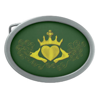 The Claddagh (Gold) Oval Belt Buckle