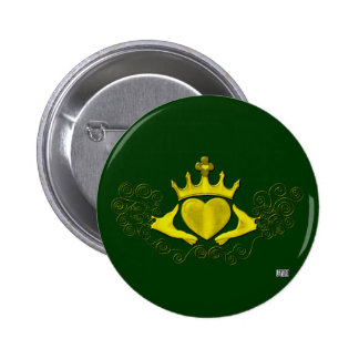 The Claddagh (Gold) Pinback Button