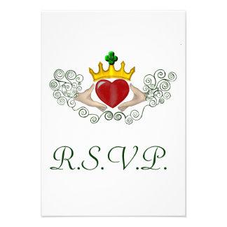 The Claddagh R S V P card Full Colour Invitation