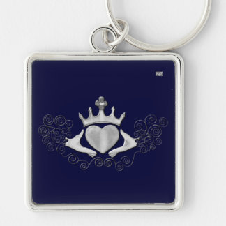 The Claddagh (Silver) Silver-Colored Square Keychain