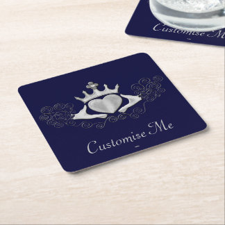 The Claddagh (Silver) Square Paper Coaster