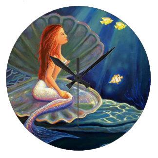 The Clamshell Mermaid Art Wall Clock