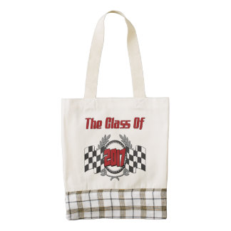 The Class of 2017 Graduation Checkered Flag Zazzle HEART Tote Bag