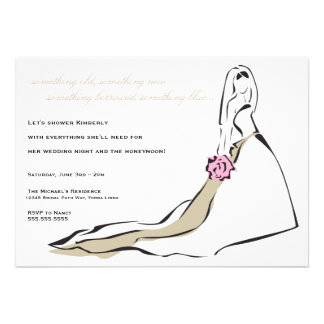 The Classic Bride with Pink Bouquet Invitation