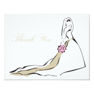 The Classic Bride with Pink Bouquet Note Card