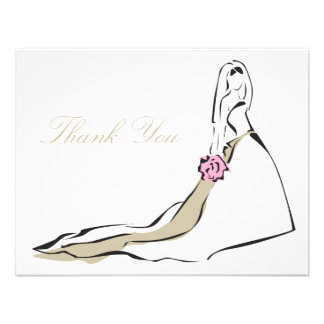 The Classic Bride with Pink Bouquet Note Card Personalized Invite
