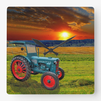 The classical tractor Hanomag R22 Square Wall Clock