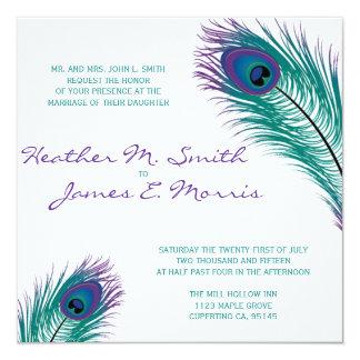 """The Classy Peacock Wedding Invitation 5.25"""" Square Invitation Card"""