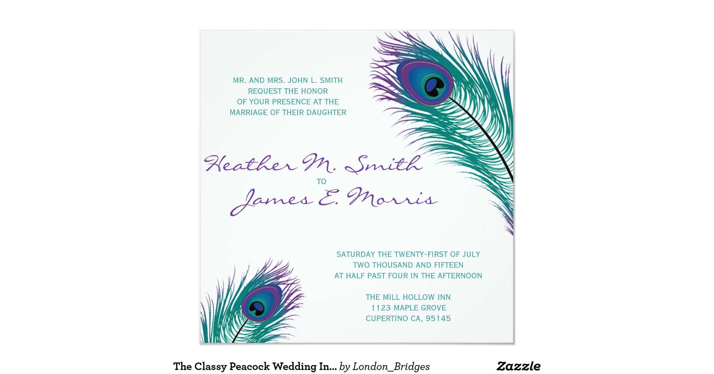 The classy peacock wedding invitation for Peacock wedding invitations with photo