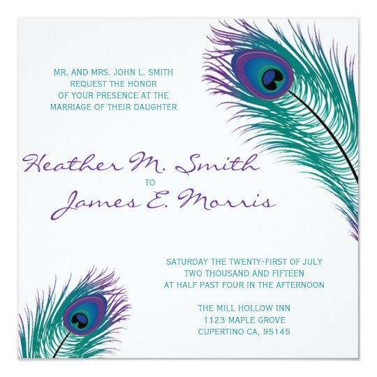 The Classy Peacock Wedding Invitation Zazzle Com