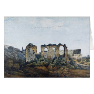 The Claudean Aqueduct and Colosseum, 1778 (w/c ove Card